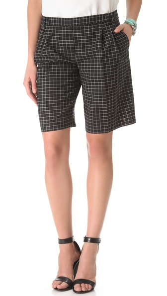 Tibi Tatersol Pleated Shorts