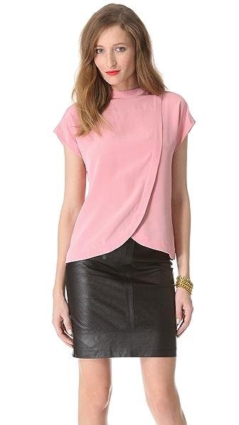 Tibi Heavy Silk Short Sleeve Top