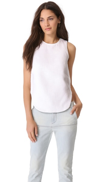 Tibi Basket Weave Sleeveless Top
