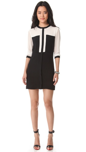 Tibi Heavy Silk Paneled Dress