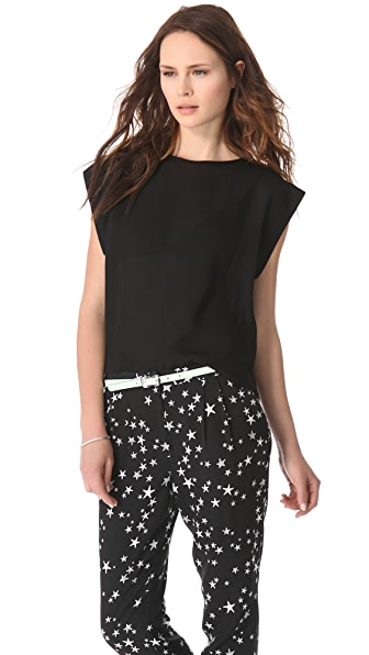 Tibi Open Weave Sleeveless Top