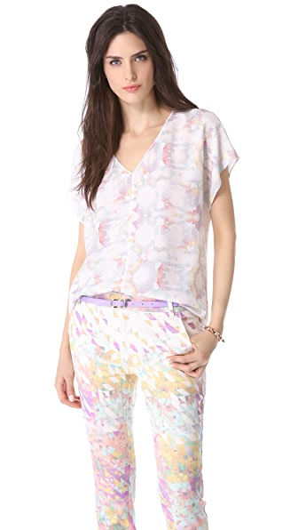 Tibi Kaleidoscope V Neck Top