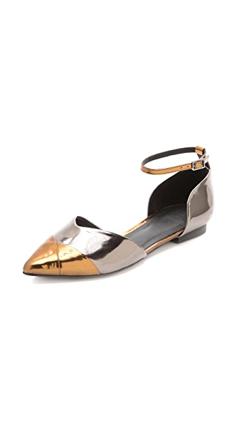 Tibi Cody d'Orsay Flats with Ankle Strap