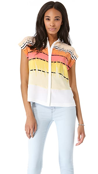 Tibi Analog Stripe Draped Top