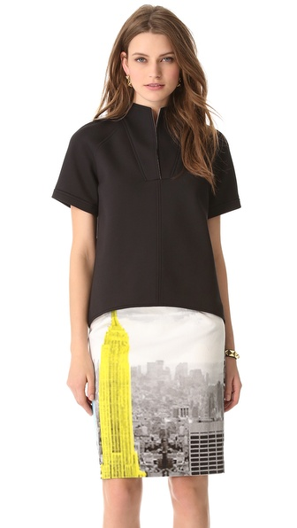 Tibi Bonded Sculpted Short Sleeve Top