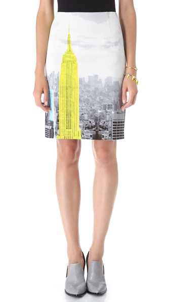Tibi Empire Denim Pencil Skirt