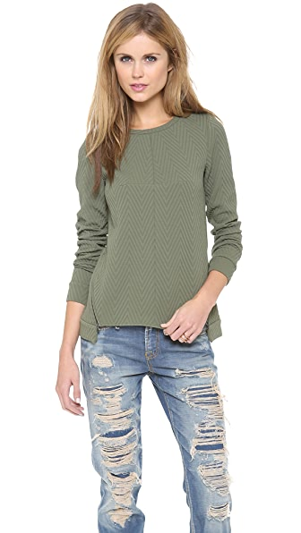 Tibi Easy Drop Shoulder Sweatshirt with Zip