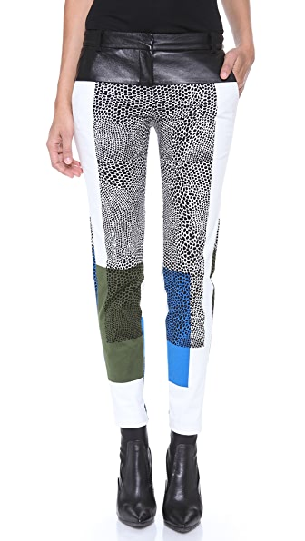 Tibi Skinny Pants with Leather Yoke
