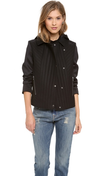Tibi Quilted Oversized Hooded Moto Jacket