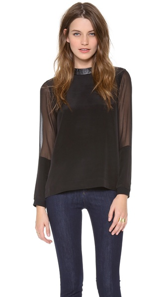 Tibi Long Sheer Sleeve Top