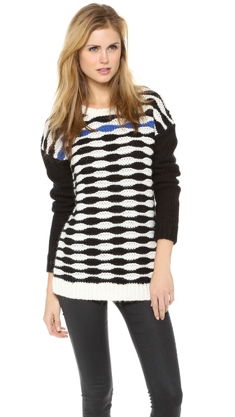 Tibi Wavy Stripe Slouchy Pullover