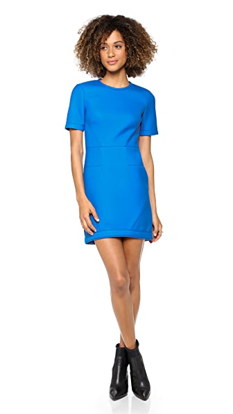 Tibi Short Sleeve Twill Dress