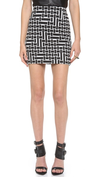 Tibi Patchwork Square Knit Skirt