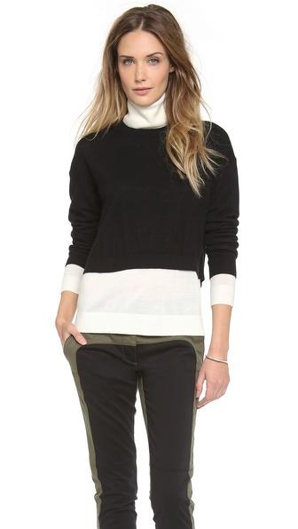 Tibi Colorblock Turtleneck Sweater