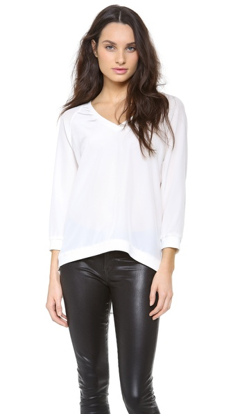 Tibi 3/4 Sleeve V Neck Top