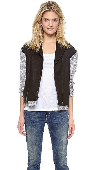 Tibi Freya Leather Combo Moto Jacket