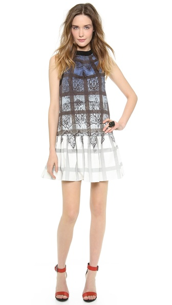 Tibi Lace Plaid Ombre Dress