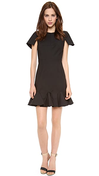 Tibi Short Sleeve Organza Combo Dress