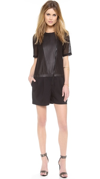Tibi Romper with Leather & Mesh