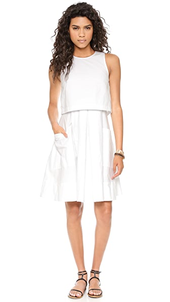 Tibi Poplin Sleeveless Pleat Dress