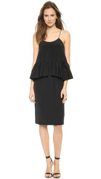 Tibi Strappy Ruffle Paneled Dress