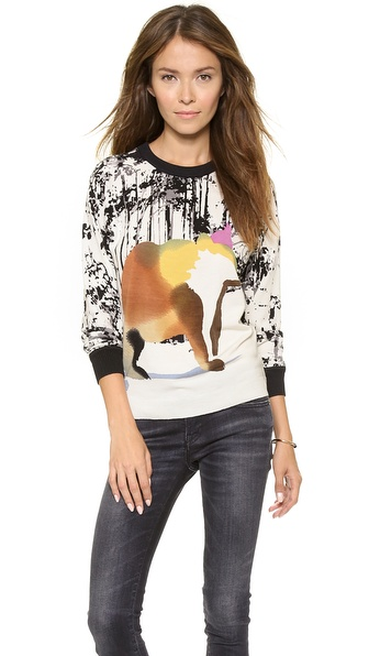 Tibi Forest Bear Print Sweater