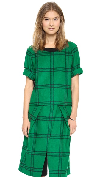 Tibi Evergreen Plaid Top