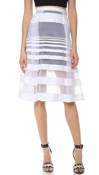 Tibi Striped Jacquard Gauze Skirt