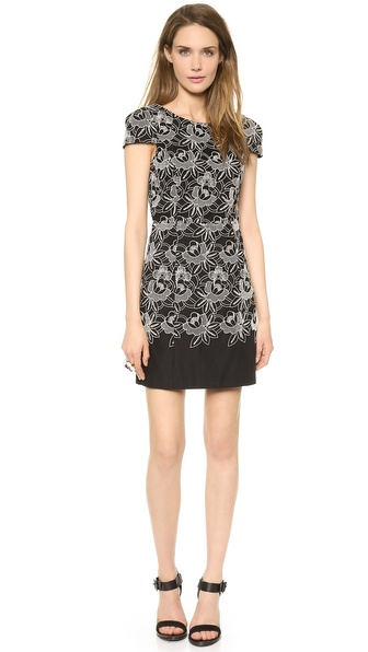 Tibi Embroidered Eyelet Cap Sleeve Dress
