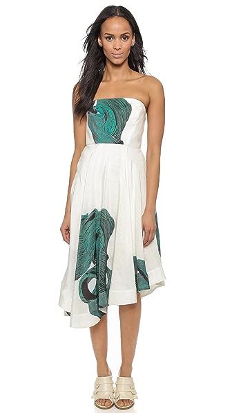 Kupi Tibi haljinu online i raspordaja za kupiti Tibi Strapless Dress Kanji Green Multi online
