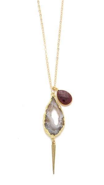 T. Kilburn Geode & Garnet Drop Necklace