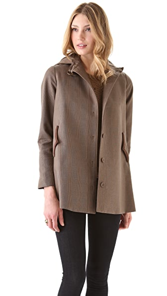 Tocca Gilbert Hooded Plaid Coat