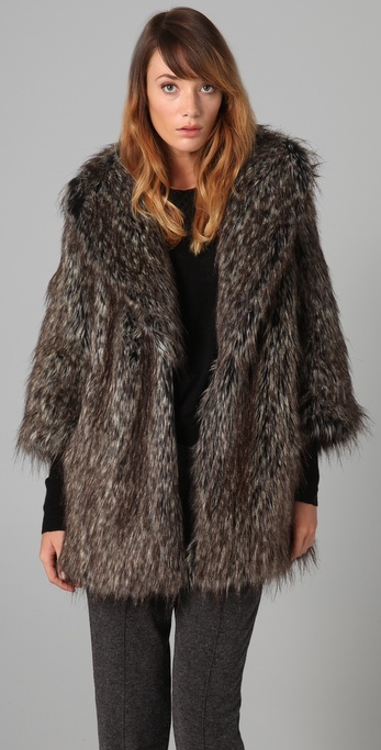 Burning Torch Desert Fox Faux Fur Jacket