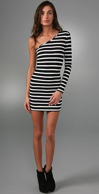 Torn by Ronny Kobo Olivia One Sleeve Stripe Mini Dress