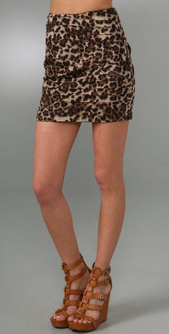 Torn by Ronny Kobo Fuzzy Leopard Miniskirt