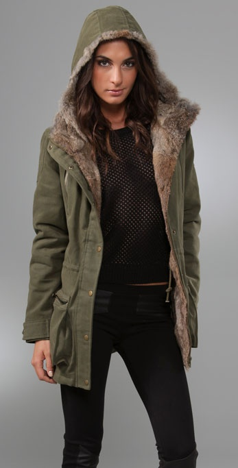 Torn by Ronny Kobo Laura Parka Jacket with Fur