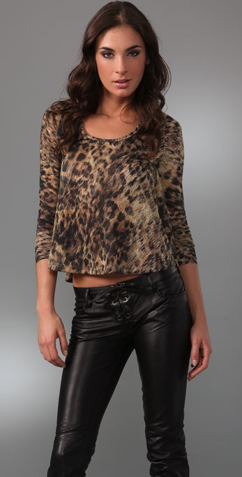 Torn by Ronny Kobo Tracy Furry Leopard Long Sleeve Top