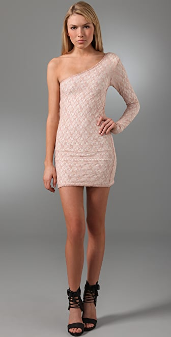 Torn by Ronny Kobo Lucinda One Shoulder Lace Dress