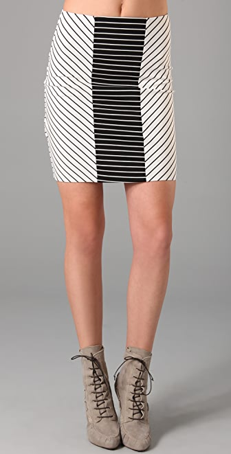 Torn by Ronny Kobo Ashley Mixed Stripes Miniskirt