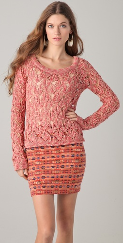 Torn by Ronny Kobo Haydon Long Sleeve Open Knit Top