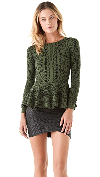 Torn by Ronny Kobo Natalie Royal Peplum Sweater