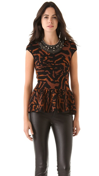 Torn by Ronny Kobo Anette Peplum Top