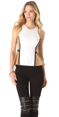 Shop Torn by Ronny Kobo Zina Colorblock Peplum Shirt and Torn by Ronny Kobo online - Apparel,Womens,Tops,Tee, online Store