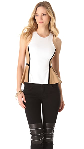 Torn by Ronny Kobo Zina Colorblock Peplum Shirt