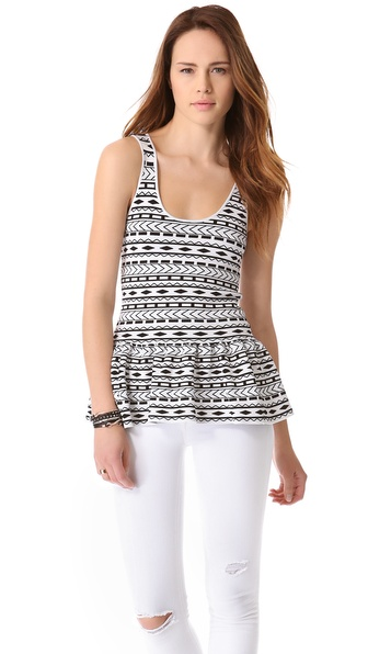 Torn by Ronny Kobo Michaela Tribal Peplum Tank