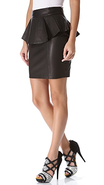 Torn by Ronny Kobo Gigi Leather Peplum Skirt