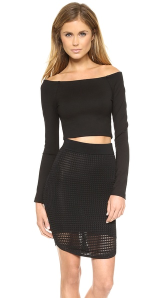 Torn by Ronny Kobo Ceecee Crop Ponte Top