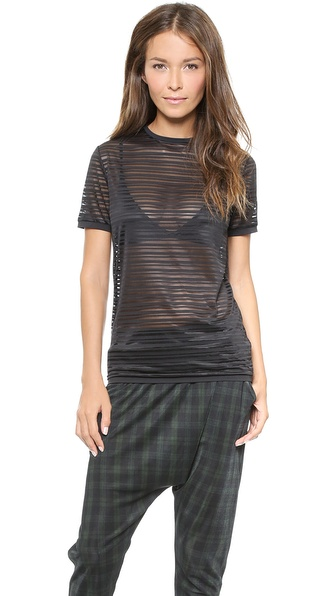 Torn by Ronny Kobo Kat Burnout Stripped Top