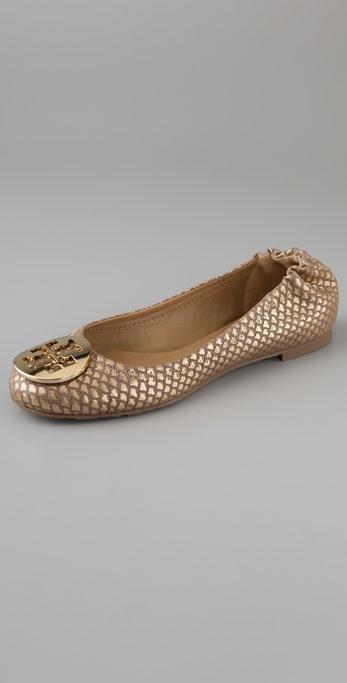 Tory Burch Reva Metallic Snake Flats