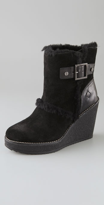 Tory Burch Shearling Wedge Booties